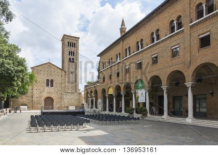 RAVENNA,ITALY-AUGUST 21,2015:front view of the Sanint Francis church in Ravenna-Italyduring a cloudy day .