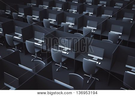 Dark coworking office interior with multiple workplaces. Side view 3D Rendering