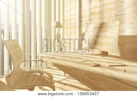 All wooden abstract workplace with chair desk computer lamp and window with city view. Mock up 3D Rendering