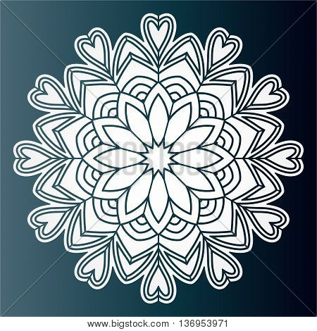 Openwork pattern mandala. Laser cutting template for wedding envelopes invitations decorative elements.