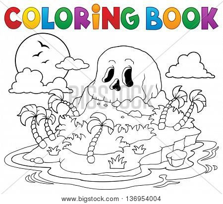 Coloring book pirate skull island - eps10 vector illustration.