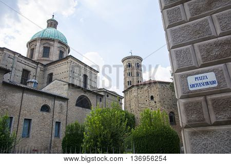 RAVENNA,ITALY-AUGUST 21,2015:view of the particular of the San Appollinare nuovo church in Ravenna-Italyduring a cloudy day .