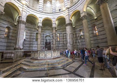 Interiors Of Pisa Baptistry, Pisa, Italy