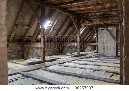 inside roof framework penthouse before construction -