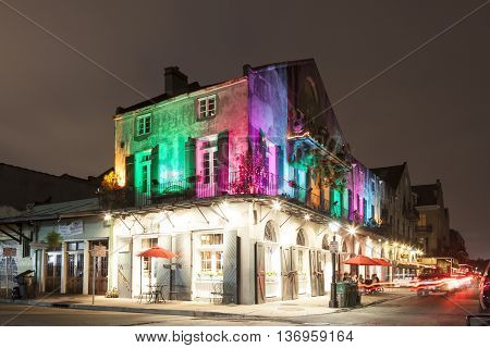 NEW ORLEANS USA - APR 16 2016: Colorful illuminated building in the old town of New Orleans. Louisiana United States