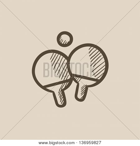 Table tennis racket and ball vector sketch icon isolated on background. Hand drawn Table tennis racket and ball icon. Table tennis racket and ball sketch icon for infographic, website or app.