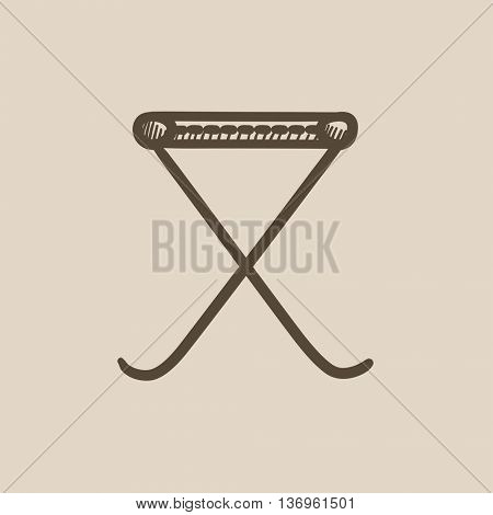 Folding chair vector sketch icon isolated on background. Hand drawn Folding chair icon. Folding chair sketch icon for infographic, website or app.