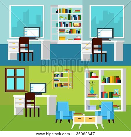 Horizontal banners of office interior compositions presenting workplaces with computers and relaxing space orthogonal vector illustration
