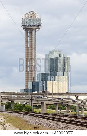 DALLAS TX USA - APR 18 2016: The famous Reunion Tower with a 171 m high observation deck in Dallas Downtown