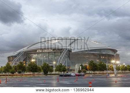 ARLINGTON USA - APR 18 2016: Exterior view of the AT&T Stadium formerly known as Cowboys Stadium in Arlington. Texas United States
