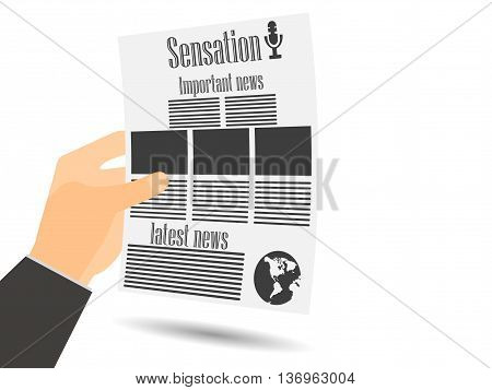 Newspaper In Hand. Newspaper Template. Important News Read In A Newspaper. Vector Illustration.