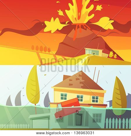 Color cartoon horizontal banners depicting natural disaster flood and volcano disaster vector illustration