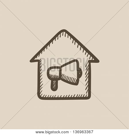 House fire alarm vector sketch icon isolated on background. Hand drawn House fire alarm icon. House fire alarm sketch icon for infographic, website or app.