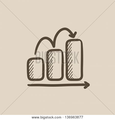 Bar chart upward  vector sketch icon isolated on background. Hand drawn Bar chart upward  icon. Bar chart upward  sketch icon for infographic, website or app.