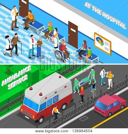 Hospital emergency department entrance with ambulance and waiting room for patients 2 isometric banners isolated vector illustration