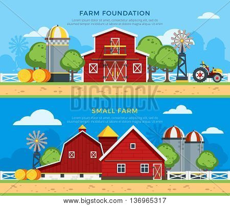Two farm flat horizontal banners with farm foundation and small farm icons collections on countryside background flat vector illustration
