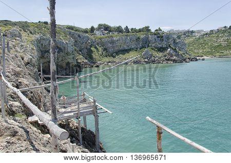 View of small trebuchet in the Gargano coast