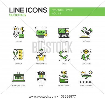 Set of modern vector line design icons and pictograms of shopping process elements. Online, secure, delivery, auction, coupon, assistance, call, location, tracking code, gift, money back shipping