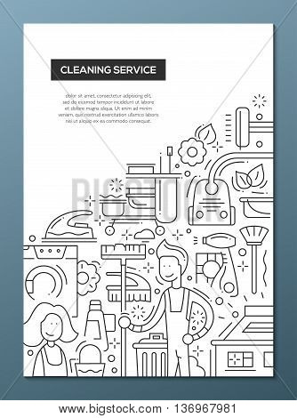 Cleaning Service - vector line design brochure poster, flyer presentation template, A4 size layout
