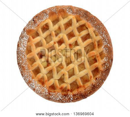 Bramley apple lattice  homemade pie isolated on white background
