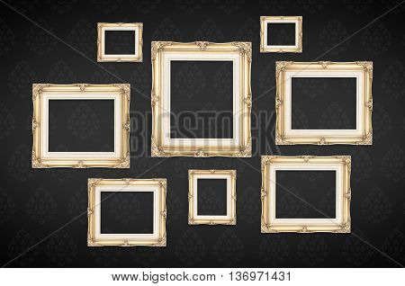 Vintage Photo Frames With Thai Pattern At Black Background,template Mock Up For Adding Your Picture