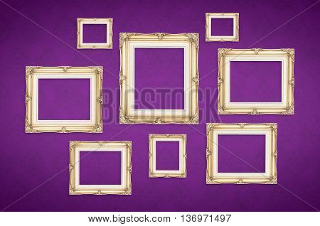 Vintage Photo Frames With Thai Pattern At Purple Background,template Mock Up For Adding Your Picture