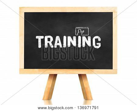 Training Word And Icon On Blackboard With Easel And Reflection On White Background,business Concept