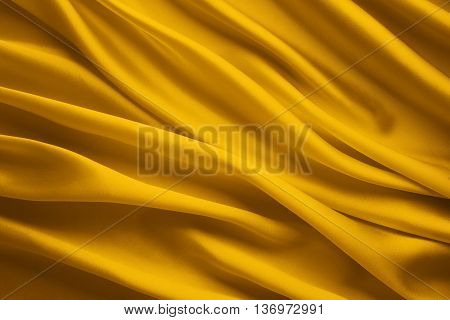 Silk Fabric Background Yellow Satin Cloth Waves Sheets