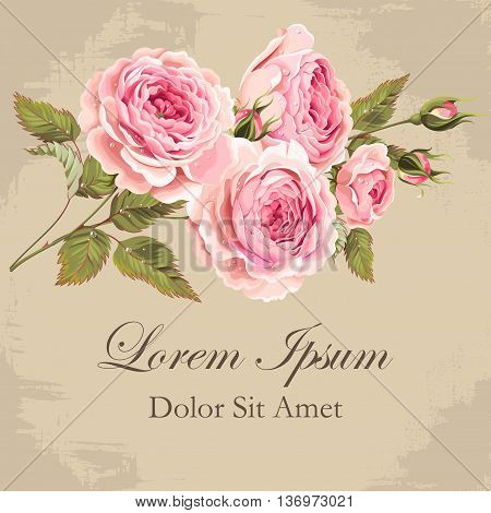 Vector illustration of gorgeous vintage roses bouquet with drops of dew