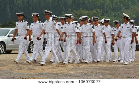 Beidaihe China. August 11 2012. The young Chinese sailors are marching formation