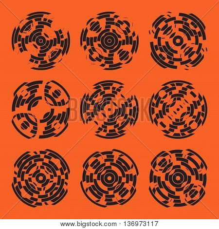 Abstract hightech collection set of 9 radars, Technology circle background. eps 10.