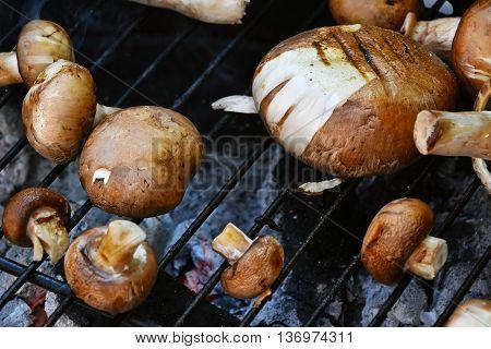Brown Champignons Mushrooms On Grill