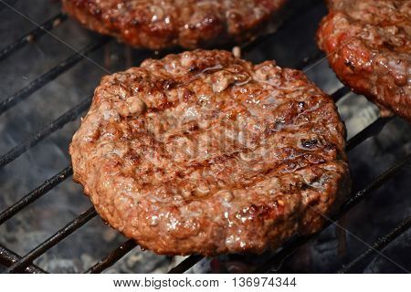 Meat Burgers For Hamburger Grilled On Grill