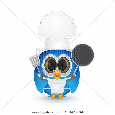 blue bird wearing chef outfit holding frypan