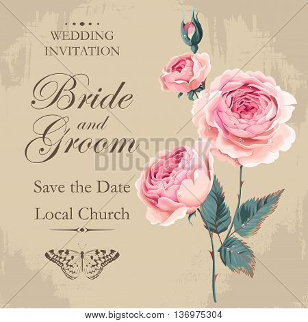 Vintage wedding invitation with english roses bouquet with drops of dew