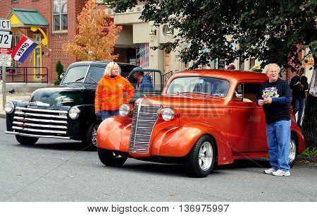 Manheim Pennsylvania - October 17 2015: Vintage 1940's automobiles at the Manheim Classic Car Show