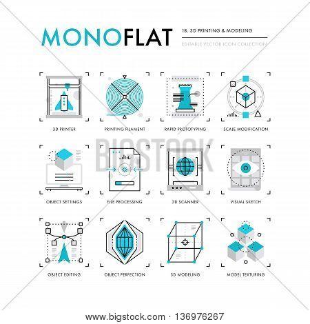 3D Printing Monoflat Icons