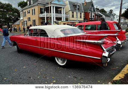 Manheim Pennsylvania - October 17 2015: A classic late 1950's Cadillac Eldorado convertible at the Manheim Classic Car Show