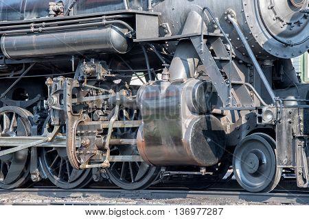 Old Steam Engine Iron Train Detail Close Up