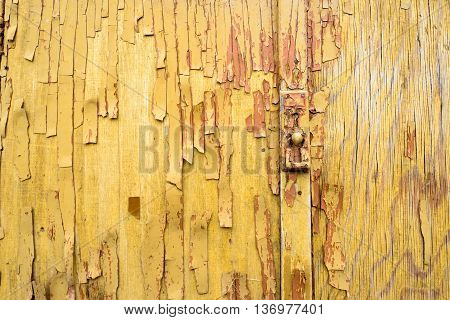 Aged Flaking Orange Paint On Wooden With Handle