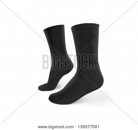 Blank black socks design mockup, isolated, clipping path. Pair sport crew cotton socks wear mock up. Long clear soft cloth stand presentation. Men basketball, football, tennis plain apparel template.