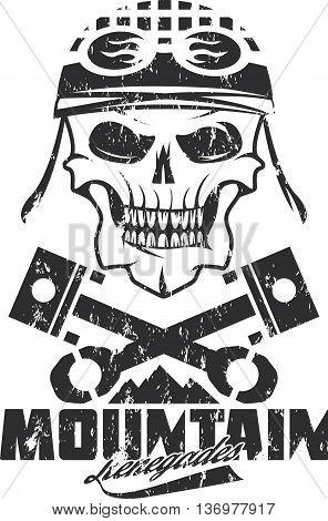 Mountain Renegades Vintage Grunge Print With Skull, Pistons Mountains