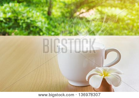 Big Coffee Cup In Happy Mood Morning Light
