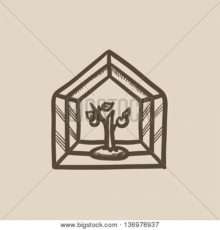 Greenhouse vector sketch icon isolated on background. Hand drawn Greenhouse icon. Greenhouse sketch icon for infographic, website or app.