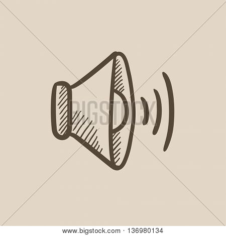 Speaker volume vector sketch icon isolated on background. Hand drawn Speaker volume icon. Speaker volume sketch icon for infographic, website or app.