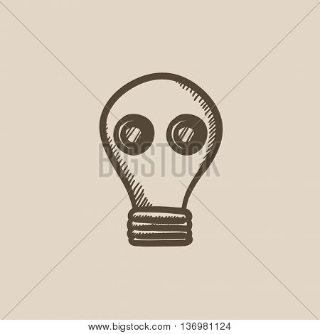 Gas mask vector sketch icon isolated on background. Hand drawn Gas mask icon. Gas mask sketch icon for infographic, website or app.