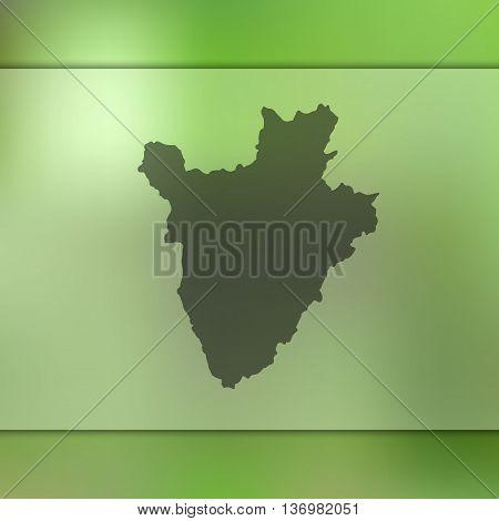 Burundi map on blurred background. Blurred background with silhouette of Burundi.