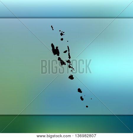 Vanuatu map on blurred background. Blurred background with silhouette of Vanuatu.