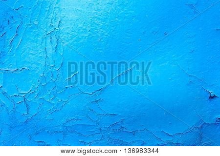 Blue Buckling Paint On Metal