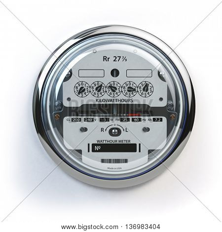 Analog electric meter isolated on white.  Electricity consumption concept. 3d illustration poster